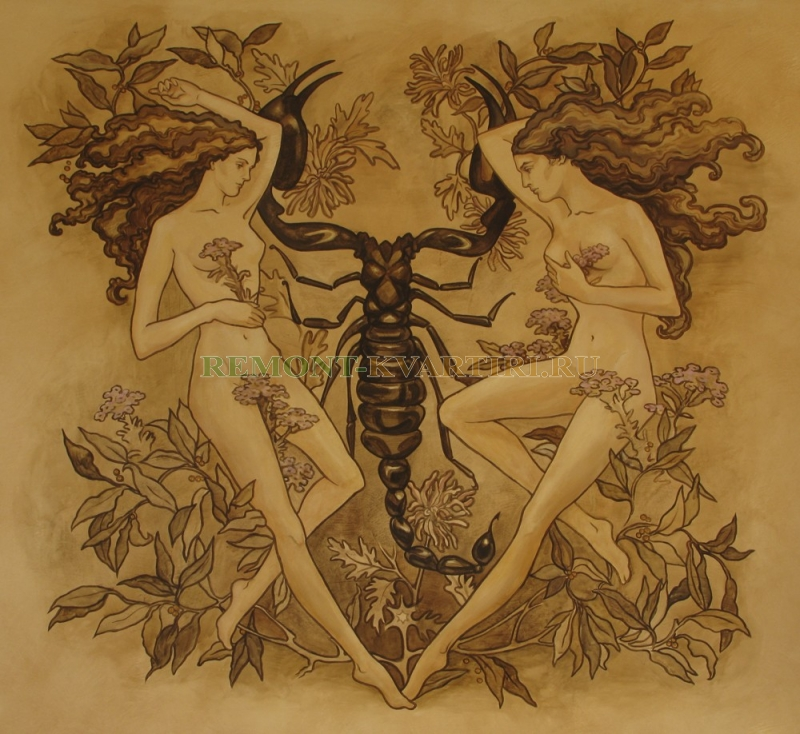 художественная роспись спальни Близнецы и скорпион .