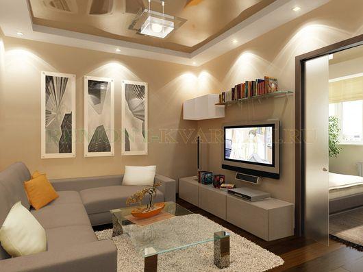 освещение гостиной точечными светильниками